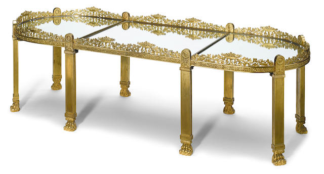A French gilt bronze table