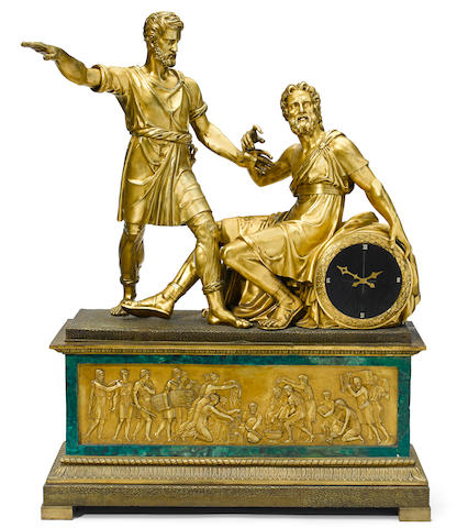 A monumental French gilt bronze mantel clock