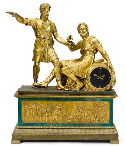 A monumental French gilt bronze mantel clock