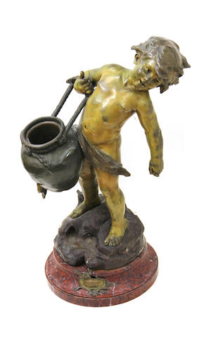 A patinated bronze and rouge griotte figure of a young water bearer: Le Pot Cassé  Auguste Louis Mathurin Moreau, (French, 1834-1917)