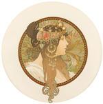 Alphonse Mucha (Czechoslovakian, 1860-1939) Têtes Byzantines (Brunette and Blonde), circa 1897