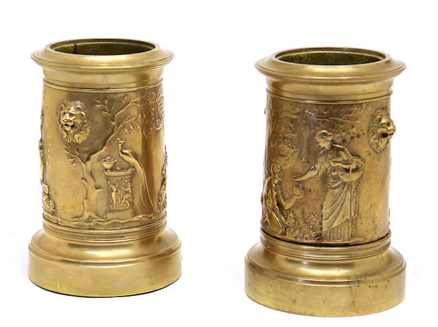 A pair of French Greek Revival bronze vases  F. Barbedienne foundry<BR />late 19th century