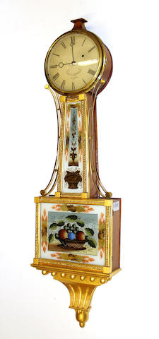 An American mahogany parcel gilt and eglomisé banjo clock James W. Jenkins, Montpeller, Vermont