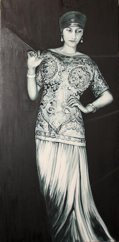 A contemporary painting on canvas of a woman