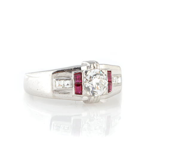 A diamond, ruby, and 18k white gold ring