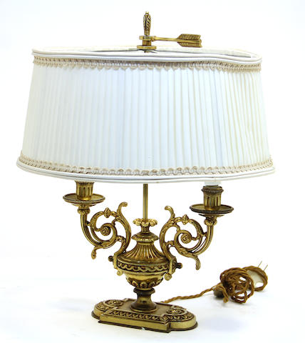 A Neoclassical style bronze table lamp