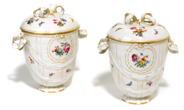 A pair of Berlin (K.P.M.) porcelain covered jars <BR />early 20th century