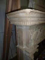 An Italian Renaissance style carved marble chimney surround<BR />after a model by Giuliano da Sangallo (Florentine, circa 1443-1516) in the Palazzo Gondi, Florence<BR />fourth quarter 19th century