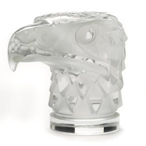 A 'Tete d'Aigle' glass mascot by René Lalique, French, c. 1945,