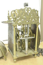 A George II brass lantern clock Signed Rich. Rayment, Bury, second quarter 18th century