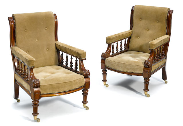 A pair of Continental mixed wood armchairs <BR />incorporating antique and later elements