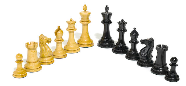 A large Jaques weighted boxwood and ebony chess set of Staunton design <BR />circa 1900