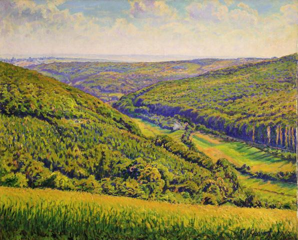 G. Garisot, Landscape, oil on canvas, 22 x 26in