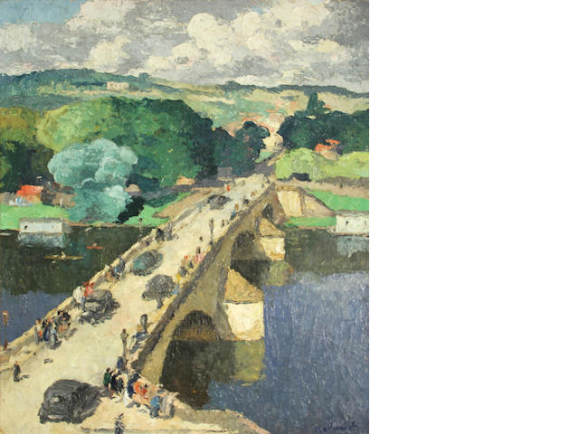 Baland, Scene with Bridge, 29 x 24in