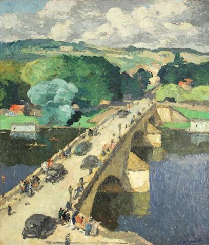 Baland, Scene with Bridge, 29 x 24in