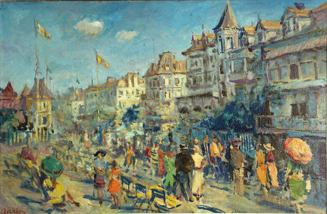 Lucien Adrion (French, 1889-1953) Coastal town 23 5/8 x 35 1/2in