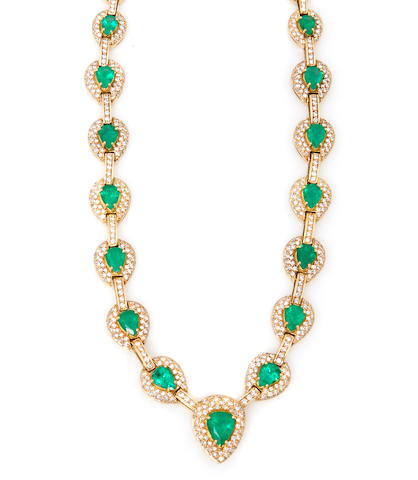 A diamond and 18k yellow gold, emerald necklace, commercial quality