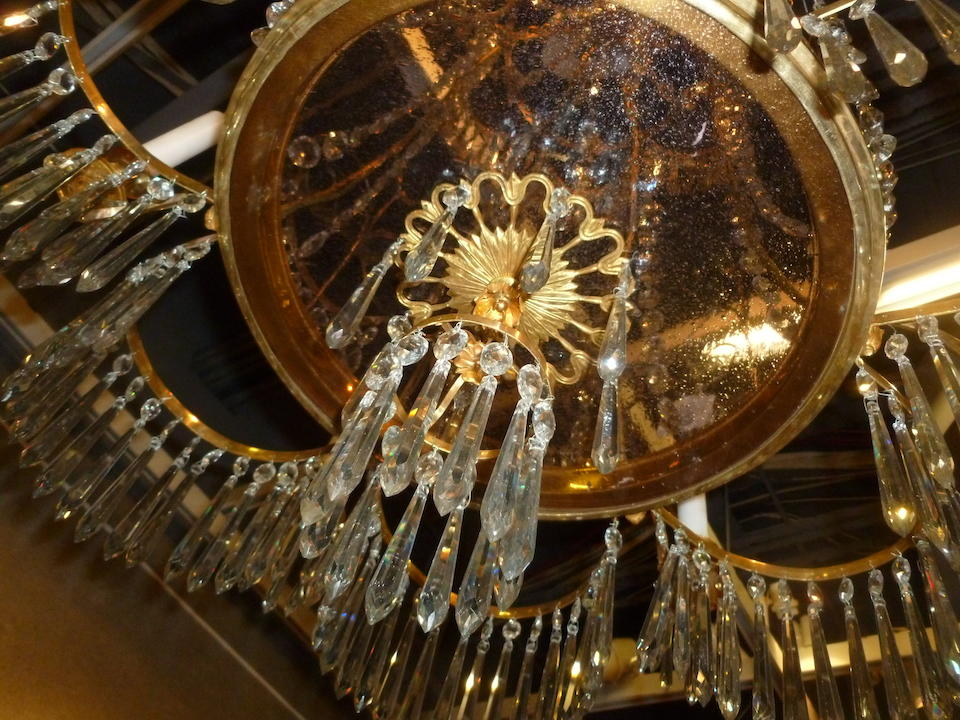 A fine Russian Neoclassical gilt bronze and glass six light chandelierlate 18th/early 19th century