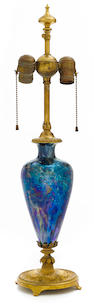 A Tiffany Studios Cypriote Favrile glass lamp base 1899-1919
