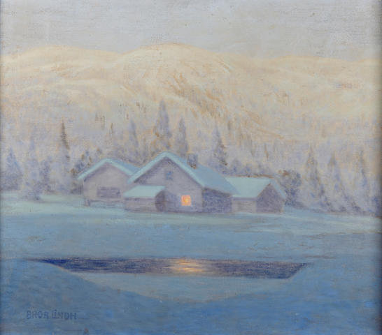 Bror Lindh (Swedish, 1877-1941) A winter's night 22 x 24 1/2in