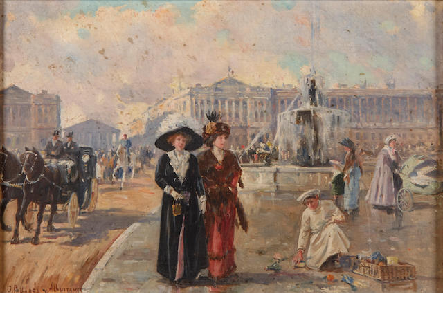 Joaquín Pallaré s Allustante (Spanish, 1853-1935) A Paris street scene; also a companion painting by the same hand (a pair) each 10 3/4 x 15 3/4in