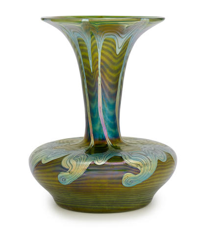 A Loetz decorated iridescent glass vase circa 1900