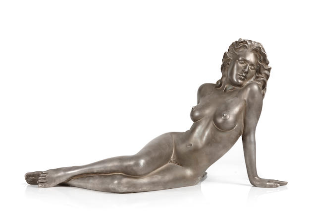 An American fine silver sculpture of a seated nude: Serenity by Ramon Parmenter, Eugene, OR, 20th century