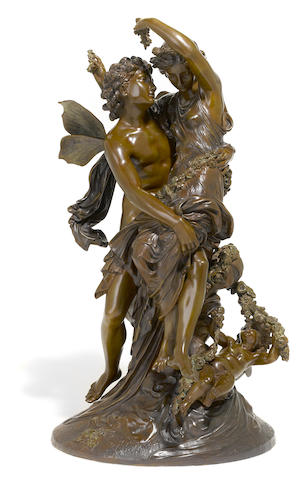 A French patinated bronze figural group: Cupid and Psyche <BR />after a model by Mathurin Moreau (French, 1822-1912)<BR />late 19th century