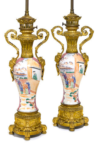 A pair of French gilt bronze mounted and Chinese porcelain table lamps  late 19th/early 20th century