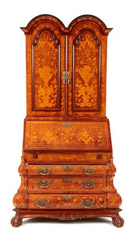 A Dutch Baroque style marquetry bureau bookcase