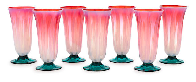 A set of seven Tiffany Studios Favrile pastel glass goblets 1899-1919