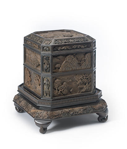A carved hardwood two-tier jubako Taisho/Showa period (20th century)