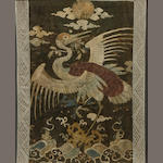 A Japanese embroidered panel depicting a crane