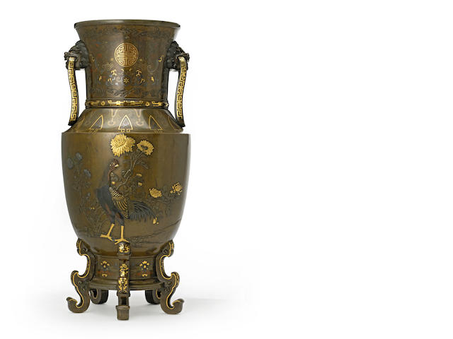 A large inlaid bronze vase<BR />Meiji period