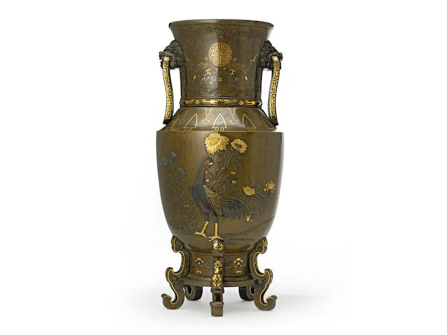 A large inlaid bronze vase Meiji period