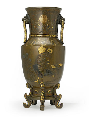 A large inlaid bronze vase Meiji period