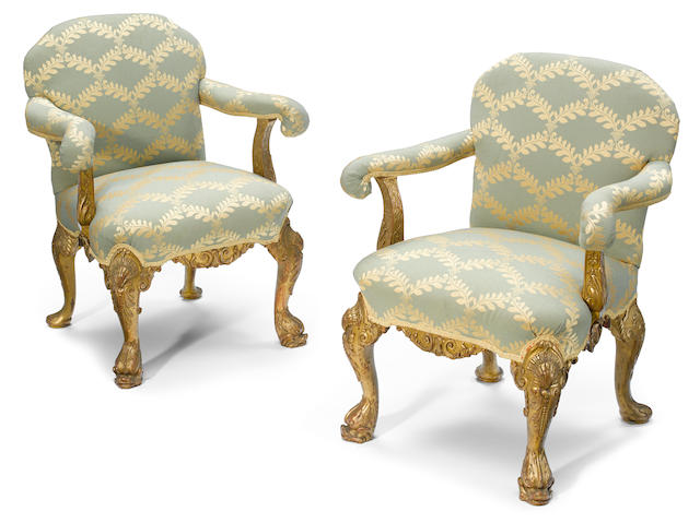 A pair of good quality George IV carved giltwood library armchairs  <BR />George Morant<BR />second quarter 19th century