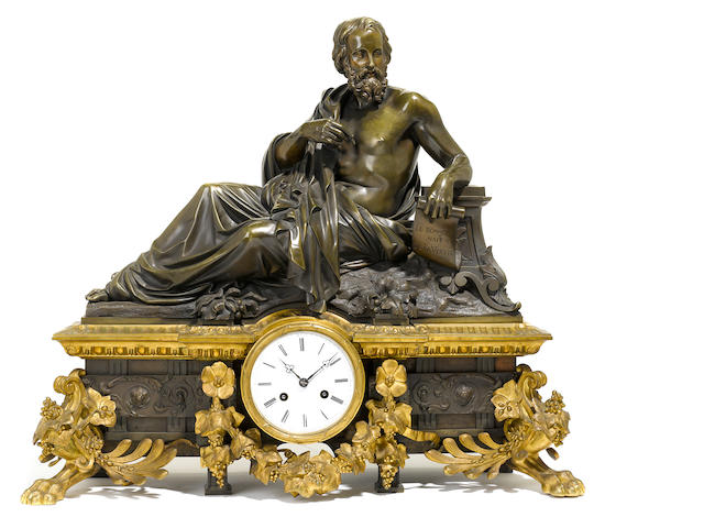 A French gilt and patinated bronze figural mantel clock <BR />second half 19th century