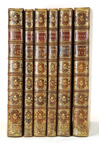 ACCADEMIA DELLA CRUSCA. Vocabolario degli Accademici della Crusca. Impressione Napoletana secondo l'ultima di Firenze.  Naples: Giuseppe Ponzelli, 1746-48.