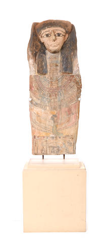 An encased Egyptian sarcophagus
