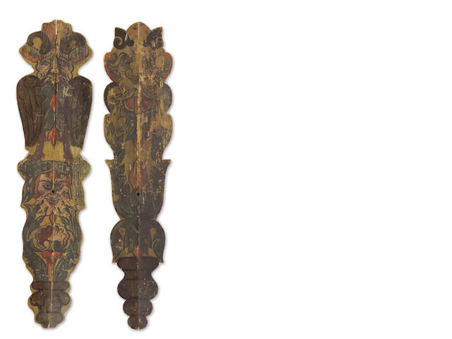 A pair of Continental paint decorated appliques  19th/20th century