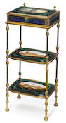 A good Italian gilt metal, bronze, lapis lazuli and micromosaic three tier étagère jewelry case <BR />Cesare Roccheggiani (fl. second half 19th century)<BR />third quarter 19th century