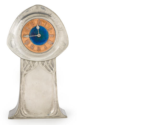 A Liberty & Co. Tudric enameled pewter and copper clock circa 1902-1905