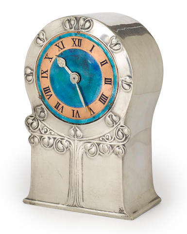 An Archibald Knox for Liberty & Co. Tudric enameled pewter clock circa 1902-1905