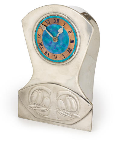 An Archibald Knox for Liberty & Co. Tudric enameled pewter and copper clock circa 1902-1905