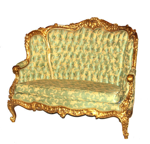 A Rococo style gold painted  canape