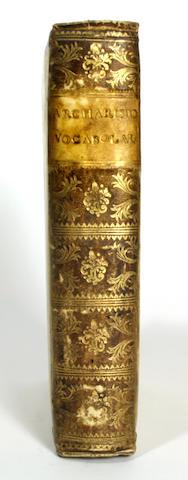 ACHARISIO, ALBERTO. Vocabolario Grammatica de la Lingua Volgare. [Cento: in Casa de l'Auttore,] 1543.