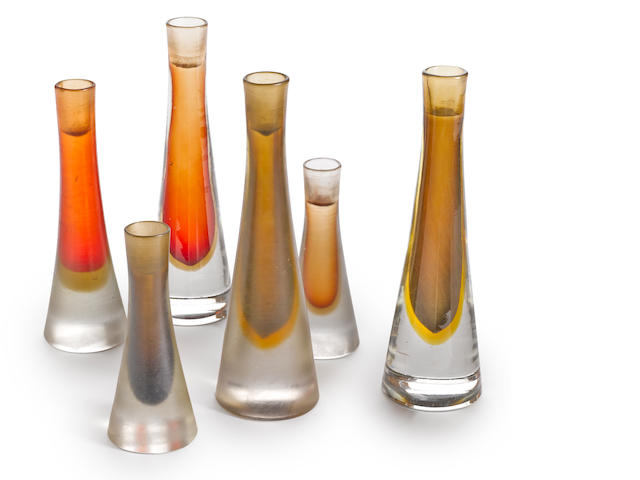 A group of four Paulo Venini for Venini Inciso glass candlesticks circa 1950