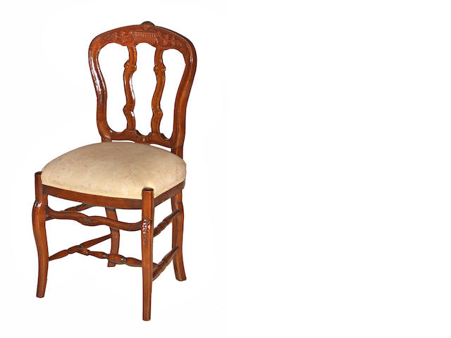 A set of six Rococo style walnut side chairs 20th century