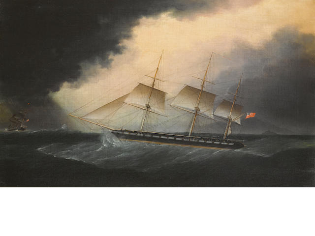 James Edward Buttersworth (British/American, 1817-1894) An American frigate in a storm 22 x 36 in. (55.8 x 91.4 cm.)